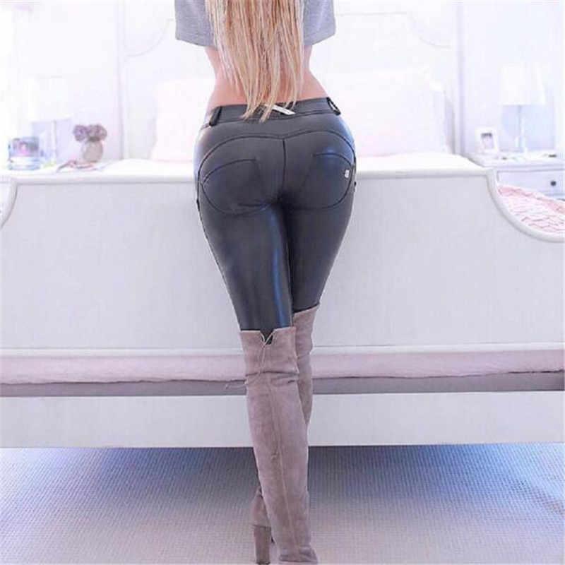 6f6fa2d3ec9767 Fashion High Elastic Freddy Pants Leather Pants Women Sexy Push Up Pencil Pants  Trousers Women Skinny