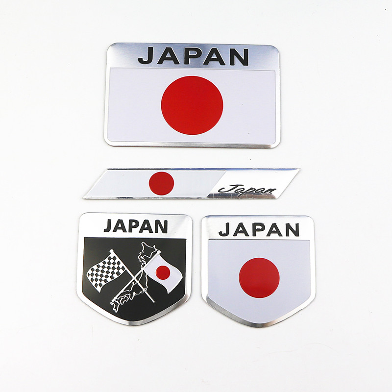 3D Japan Japanese Flag Shield Emblem Aluminum Badge Car Motorcycle Sticker Decal