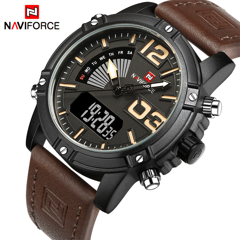NAVIFORCE Original Luxury Brand Quartz Watch Men Digital LED Klocka Herr Klocka Militär Sport Armbandsur Relogio Masculino
