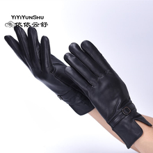 Hot Winter Genuine Leather Gloves Women 2017 Brand Sheepskin Warm Solid Color Female Real Sheep mitten Lady Fashion Party Gloves