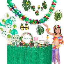 Banner Ballons Tableware Hawaiian Party Decoration Palm Leaves Tropical Party Decor Flamingo Summer Jungle Safari Party Supplies(China)