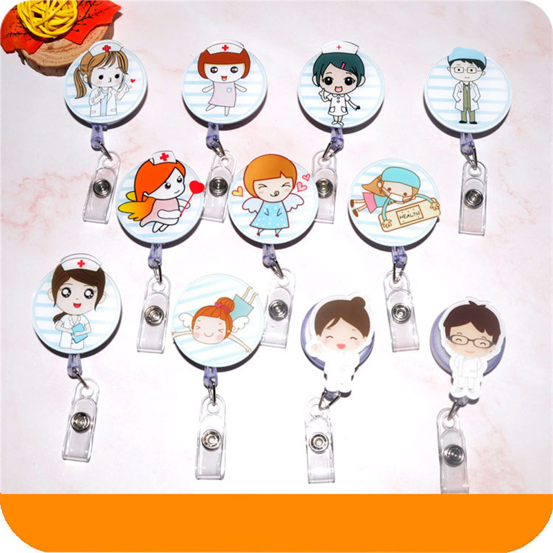 Hot Sale Mini Retractable Badge Cute Cartoon Nurse Lanyards ID Name Card Badge Holder Clip Student Office Supplies