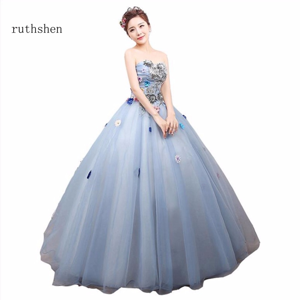 ruthshen In Stock Quinceanera Dresses Strapless Appliques Flowers ...