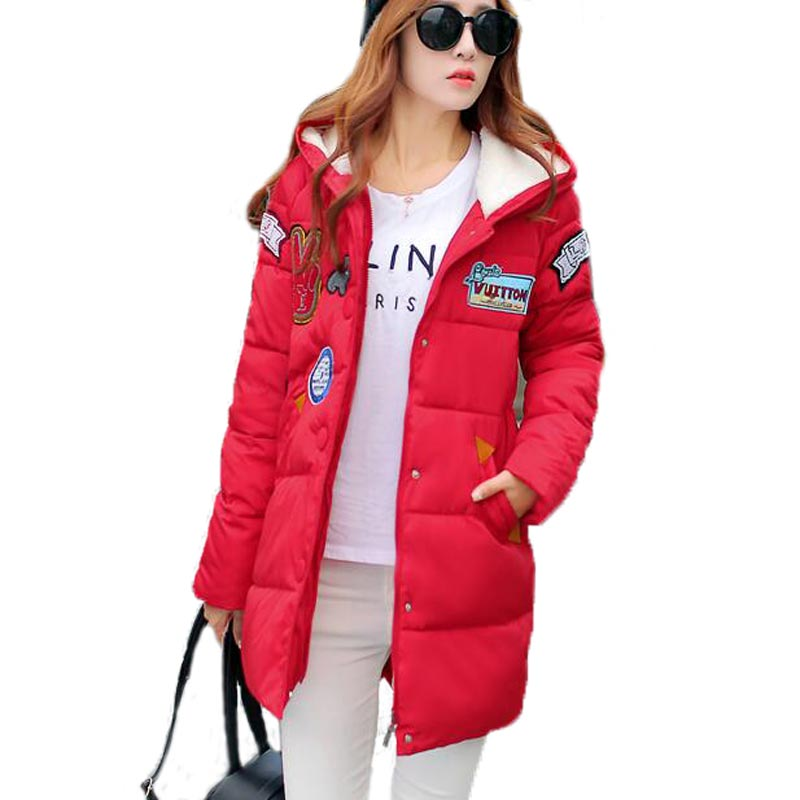Fashion 2017 Winter Jacket Women Cotton Padded Coats Long Sleeve Hooded Warm Cotton Applique Coats Loose Plus Size PW0044 okxgnz winter cotton jacket coat women 2017long cotton padded costume hooded loose warm coats plus size women basic coats ah021