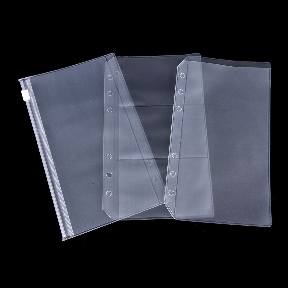6 Holes  A5/A6 PVC Transparent Refill Organiser Zip Lock Envelope Binder Pocket Stationery