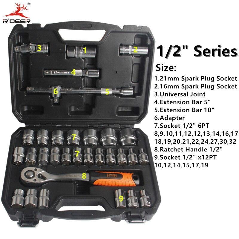 RDEER Socket Torque Ratchet Wrench 32pcs/Set 1/2 Wrench Set 72T Chrome Vanadium Steel Repair Tools Hand Tool Set