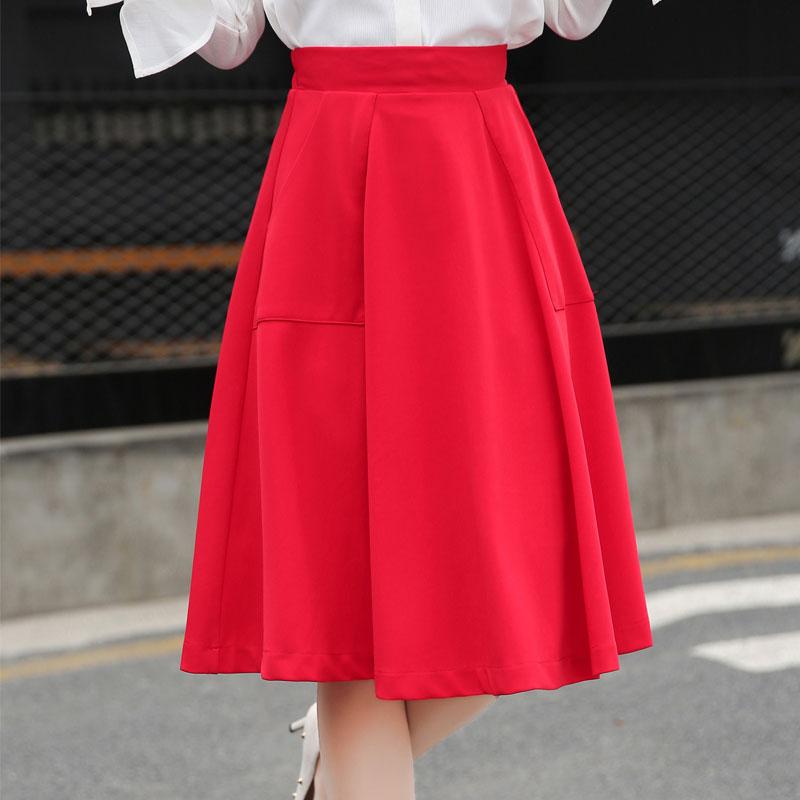 6e0fba0d28 kashidi brand red skirts womens midi skirt pockets spring summer elegant  midi skirt high waist sexy clothing size S 3XL W119-in Skirts from Women's  Clothing ...