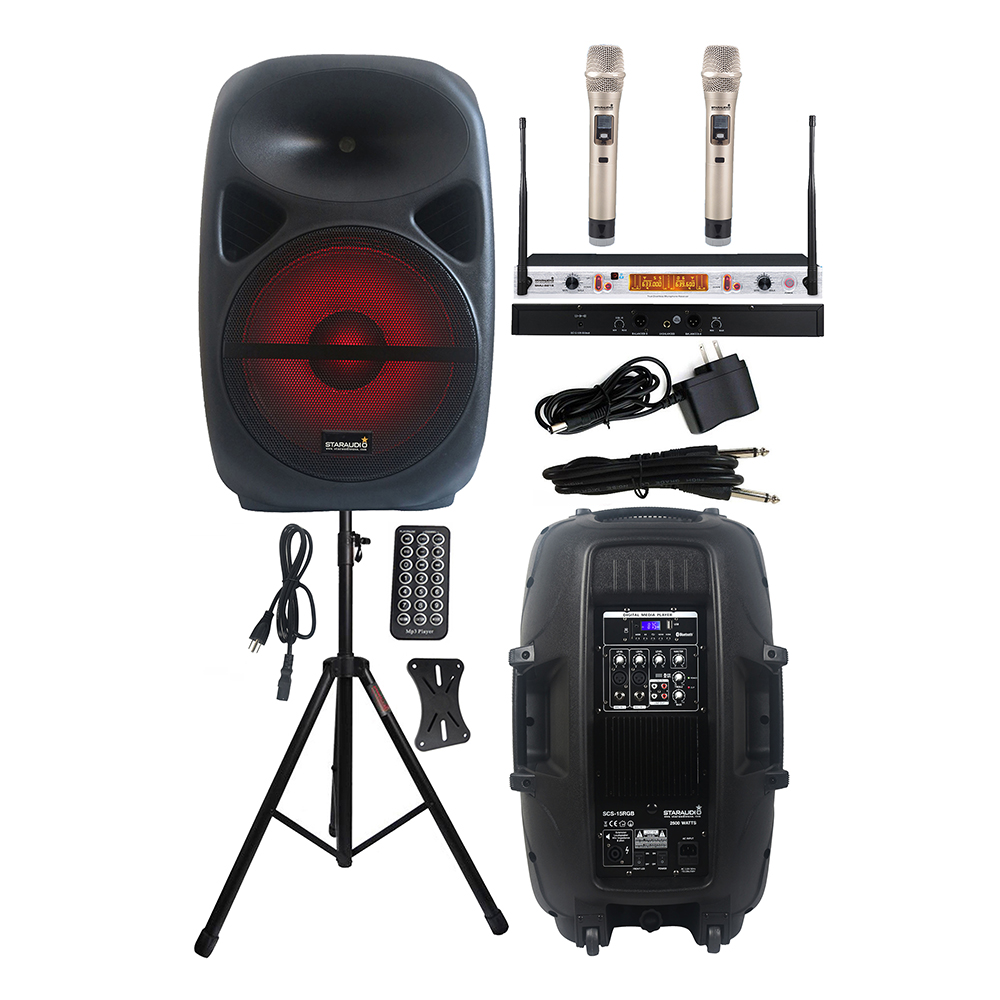 US $315 69 |STARAUDIO 15 Inch 2500W Stage Powered DJ Speaker PA Party  Speaker Stand 2 Channel Wireless UHF IR Handheld Microphone SCS 15RGB-in