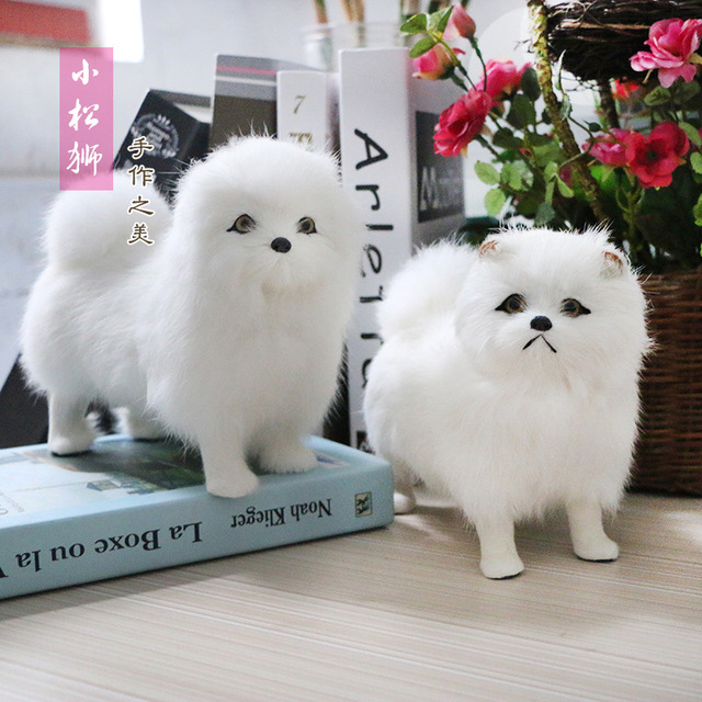 Plush Animals Dolls Lifelike White Standing Dogs Models Realistic Pet Chow Figures Children Birthday Gifts