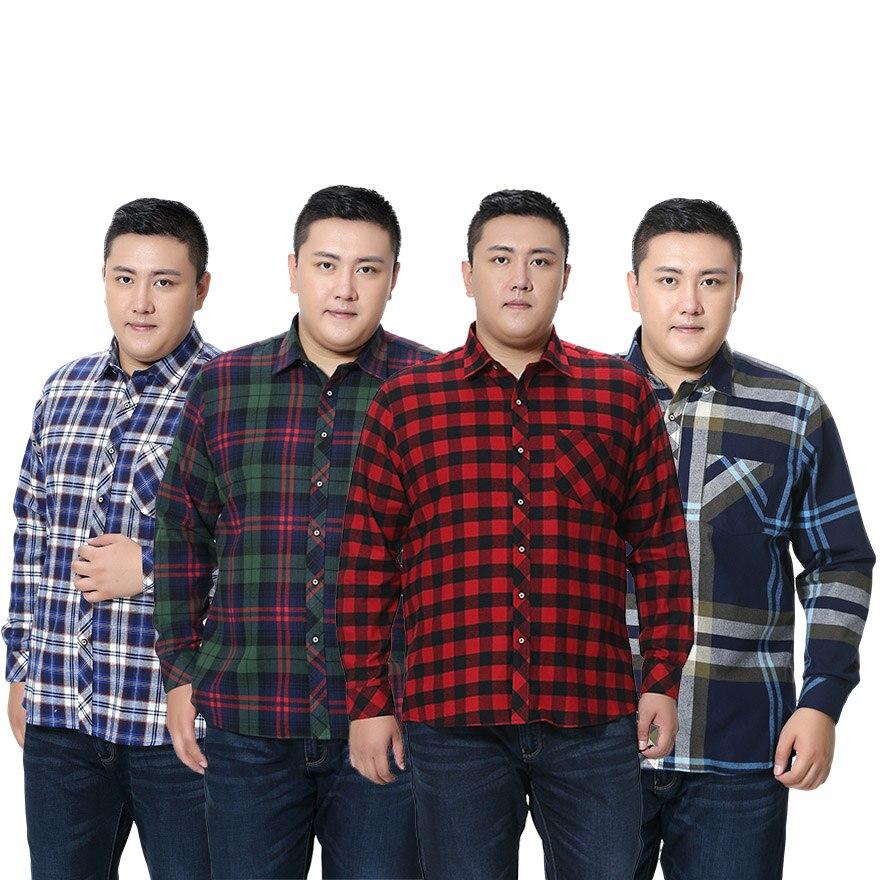100% Wahr Fett Kerl Heißer Verkauf Plus-größe 5xl 6xl 7xl 8xl Hohe Qualität 100% Baumwolle Flanell Plaid Formale Beiläufige Männer Langarm Schwarz Rot Jade Weiß