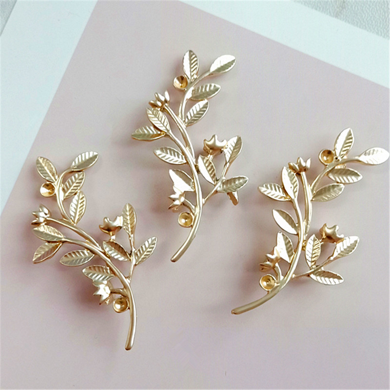 SEA MEW 10 PCS 32*56mm Metal Zinc Alloy Gold Leaves Branch Connector For Jewelry Making