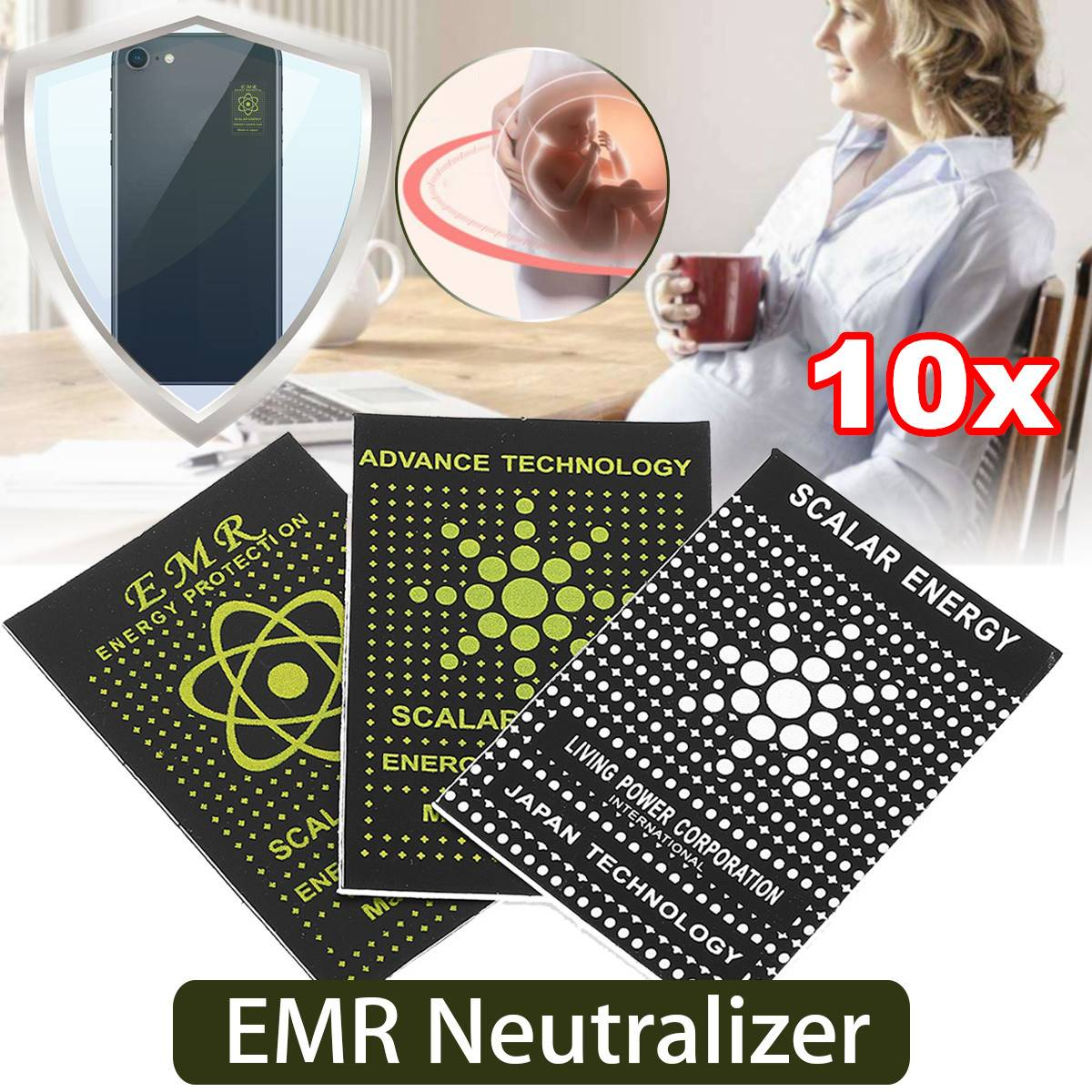 10pcs/lot EMR Scalar Energy Phone Sticker Anti Radiation Keep Health Anti EMP EMF Free Shipping Protection For Pregnant Woman