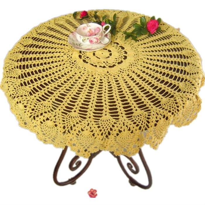 Handmade Crochet Tablecloth Round Crochet Pineapple Flower Doily