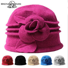 BINGYUANHAOXUAN Felted Women 100% Pure Wool Dome Winter Hats For Floral Casual Brand Warm Lady Fall Floppy Soft Felt Girls