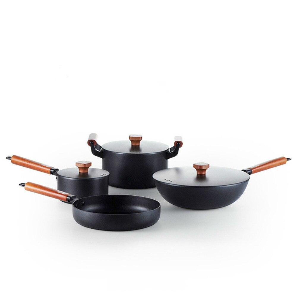 Pot en fer de haute qualité définit une poêle antiadhésive non revêtue cuisinière à induction au gaz pot en fonte général LM12171038
