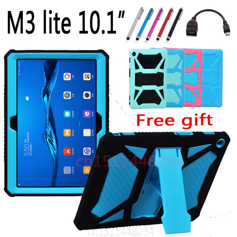 For Huawei MediaPad M3 Lite 10(10.1) child baby Tablet shockproof shell case cover,handle Support stand EVA silicone capa funda case for huawei honor 7x shockproof with stand 360 rotation back cover contrast color hard pc