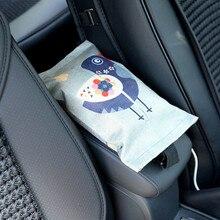 Car Tissue Box Multi-Purpose Cotton Linen Cover Cartoon Retro Bag Cloth Art Container for Paper Tissue