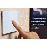 White Crystal Glass 1 Gang 2 Way Light Touch Switch Waterproof Fireproof And Preventing Electric Shock
