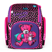 2017 Factory delune brand kids school bag primary school bear floral backpack boys girls 3D blue