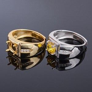Image 3 - MeiBaPJ 7mm Natürliche Citrine Runde Edelstein Mode Ring/Leere Unterstützung für Männer Echt 925 Sterling Silber Feine Charme schmuck