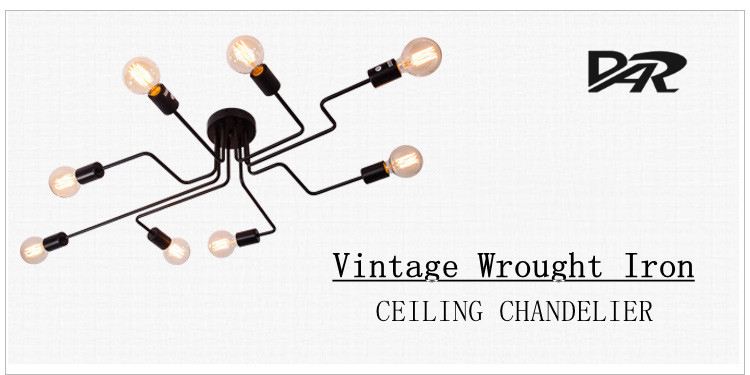 DAR 4/6 Light Retro Wrought Iron Ceiling Lights Bedroom/Dining Room Vintage Black Ceiling Lamp Fixture E27 Lustres