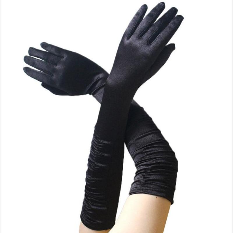 Stretch Black Opera Gothic Gloves ladies Elbow Evening 1920s Fancy Dress fashion