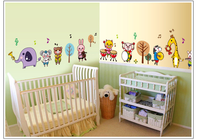 DSU New Arrival Cartoon Music Notes Cute Animals Wall Stickers For Kids  Room Wall Decor Wall Part 98