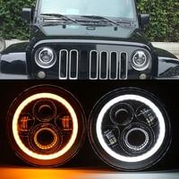 2pcsFor Hummer H1 H2 Led Headlight 7 Inch LED Headlights High Low Beam Angel Eye DRL