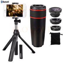 Best Buy Mobile lens Kit 8X Zoom Telephoto Lens Telescope Lenses Fish eye Wide Angle Macro Lentes Clips Monopod Tripod Bluetooth Shutter