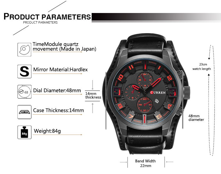 Relogio Masculino Mens Watches Top Brand Luxury Leather Strap Waterproof Sport Men Quartz Watch Military Male Clock Curren 8225 19