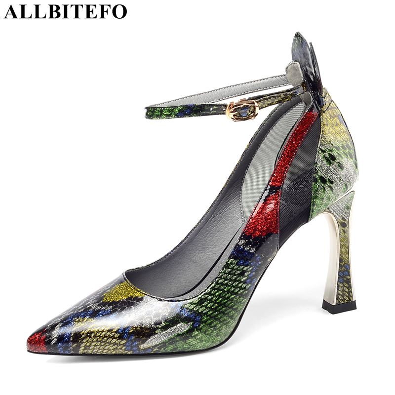 ALLBITEFO sexy high heels women shoes genuine leather pointed toe office ladies shoes women high heel