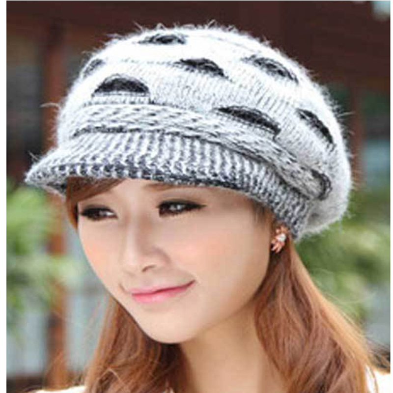 Womens Print Spot Winter Rabbit Fur Hat Female Fall Knitted Hats For Woman Cap Autumn And Ladies Fashion Skullies Beanies