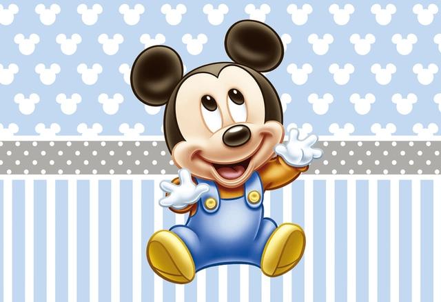 7x5FT Light Blue Stripes Baby Minnie Mickey Custom Photo Backgrounds Studio Backdrops Vinyl 220cm x 150cm