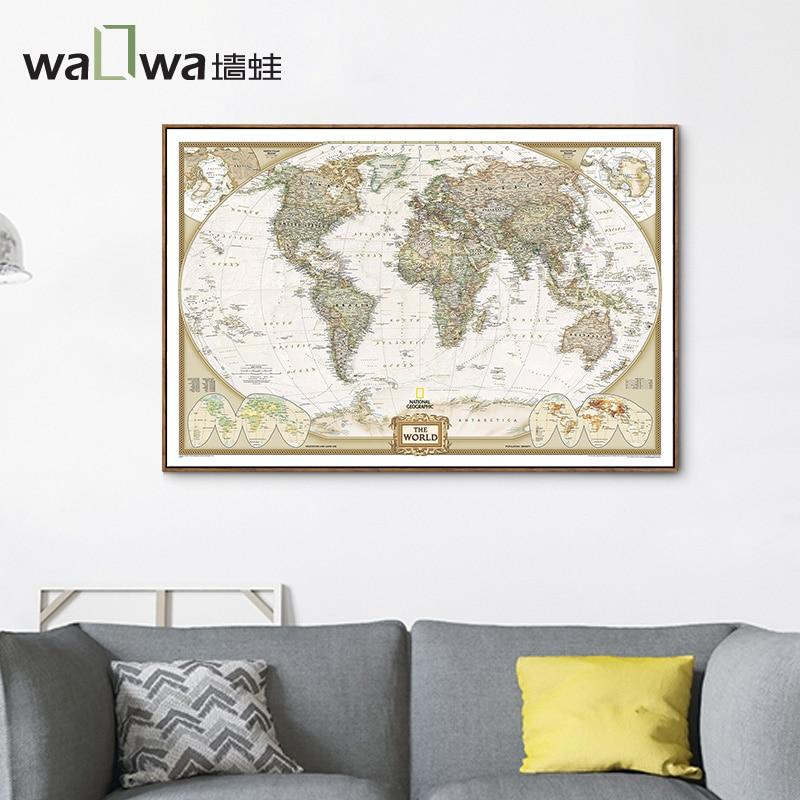 Eine karte der welt hängen wand frosch wohnzimmer gemalt Vintage ...