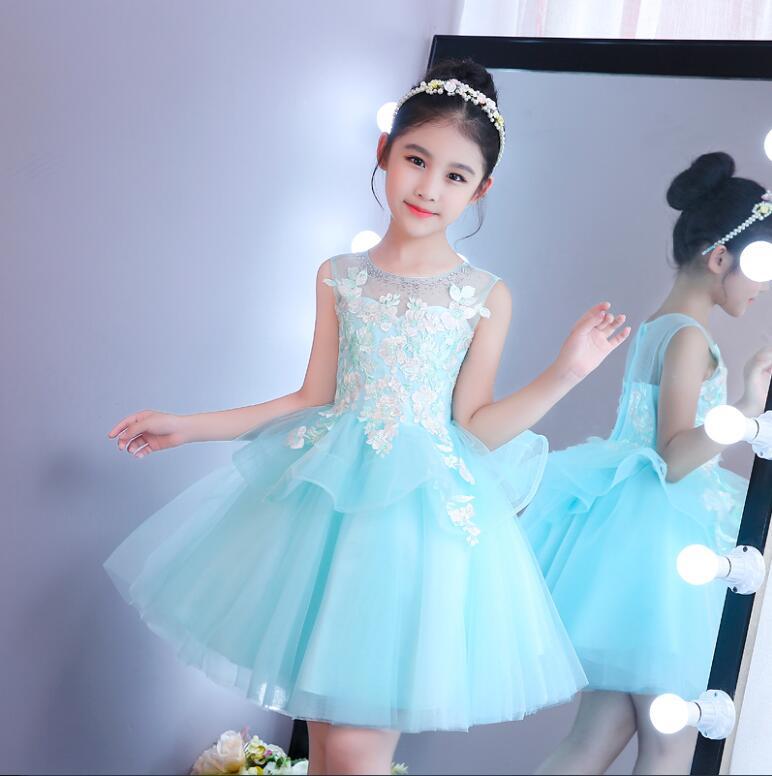 Light Blue Flower Girls Dresses for Wedding Ball Gown O-Neck First Communion Gown Girls Christmas Dress 0-16 Y тормозные огни для мотоциклов xx moto suzuki gsxr 600 2005 2004 750 k4