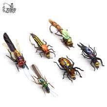 واقعية يطير حشرات صيد مجموعة 16/18 قطعة الجاف الرطب الذباب الحشرات إغراء ل باس الصيد تشكيلة Flyfishing سمك السلمون المرقط إغراء عدة