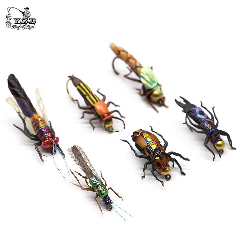 Realistic Fly Fishing Flies Set 16/18pcs  Dry Wet Flies Insect Lure for Bass Fishing Assortment Flyfishing Trout Lure kit-in Fishing Lures from Sports & Entertainment