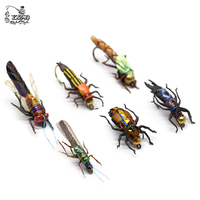 Realistic Fly Fishing Flies Set 16/18pcs Dry Wet Flies Insect Lure for Bass Fishing Assortment Flyfishing Trout Lure kit