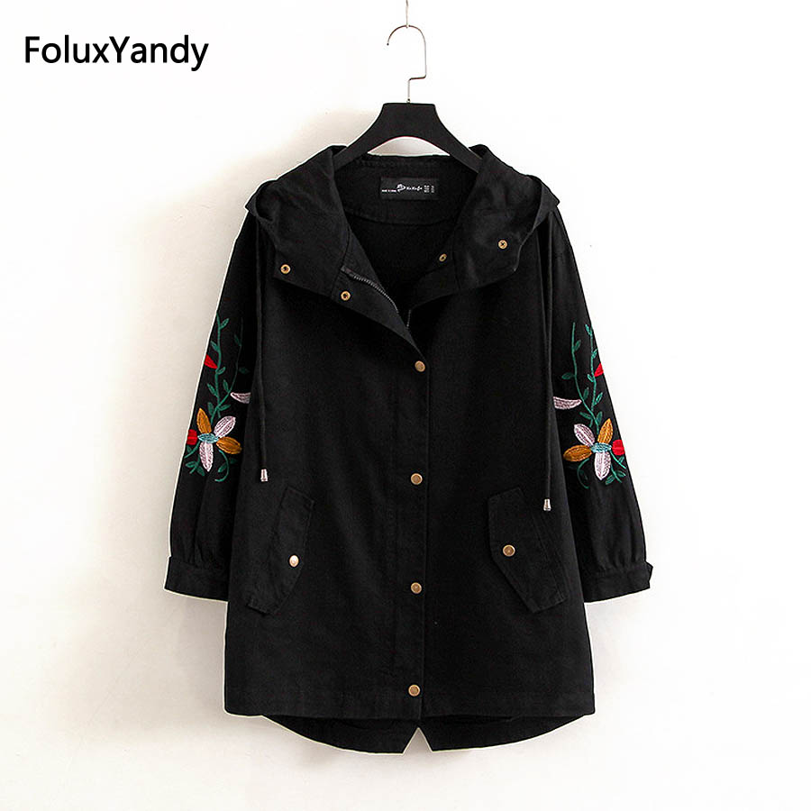 Floral Embroidery Women Trench Outerwear Plus Size 3 4 XL Casual Cotton and Linen Hooded Loose Trench Coat KKFY1016