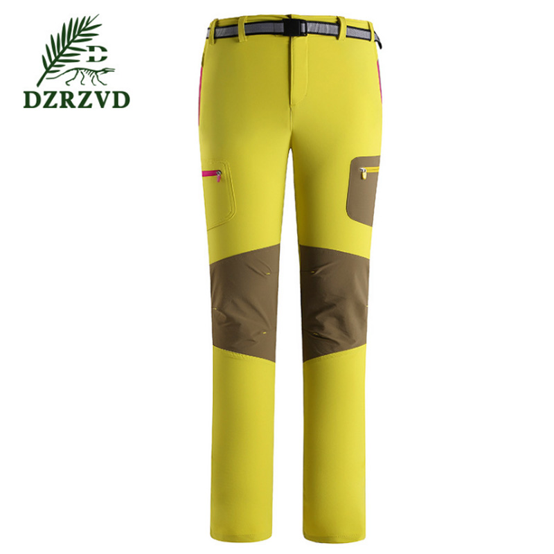 ФОТО 2017 new Outdoor Elastic Quick-Drying Pants Spring DZRZVD Brand Women Breathable Hiking Softshell Sports Pants size