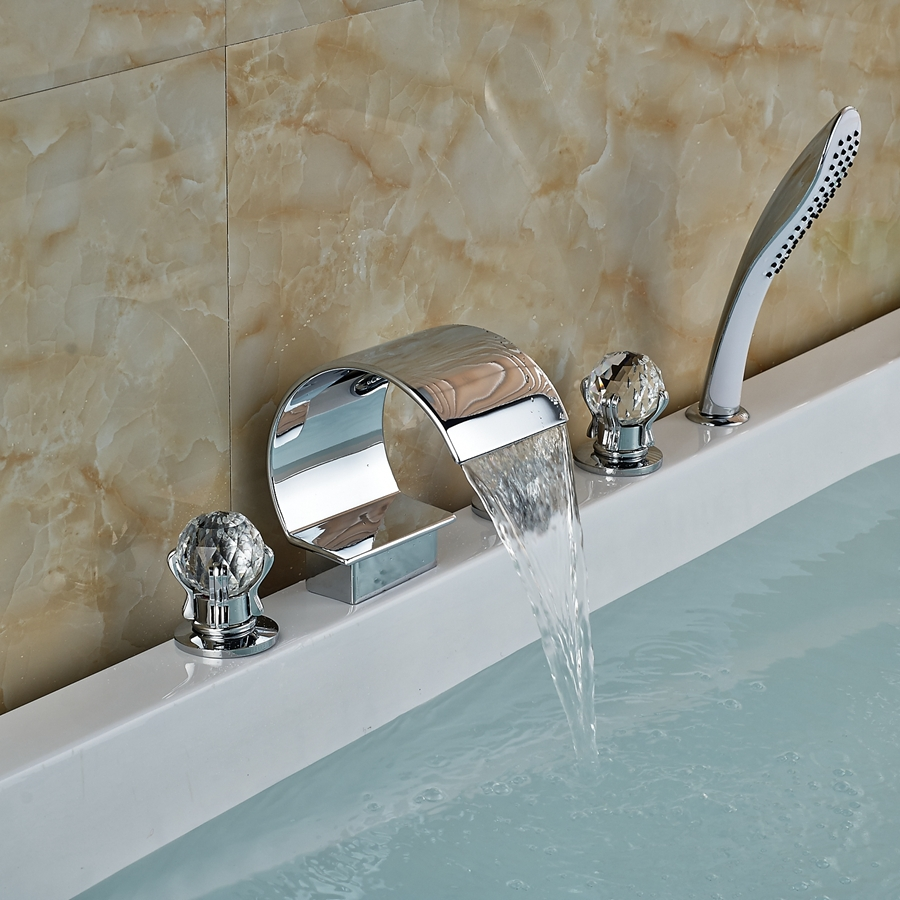 Luxury Crystal Handles Widespread Bathroom Tub Faucet W/ Pull Out Hand Sprayer