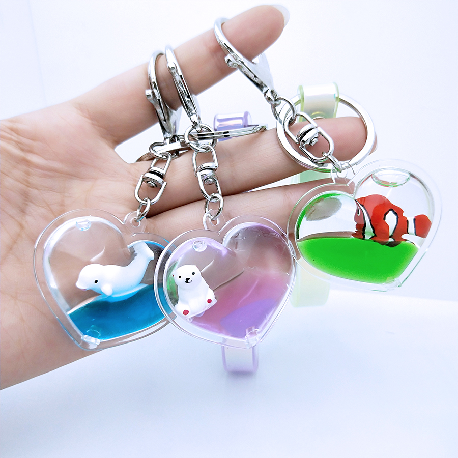 Heart Shape Move Glitter Quicksand Keychain Liquid Key Chain Floating Surf Unicorn Keyring Couples Women Men Gift Bag Pendant