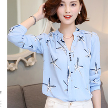 2016 Chiffon Blouse shirt Women Printed Plaid Long Sleeve blouses White top Shirts Female Ladies Office tops Blusa Femininas