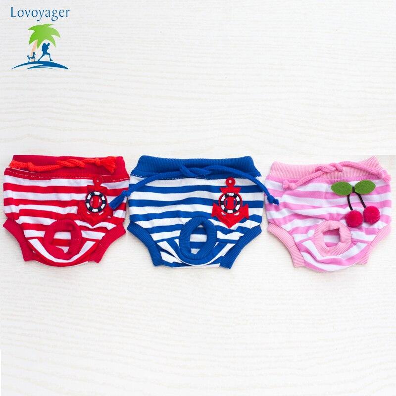 Léto Cute Soft Pet Pants kalhotky krajky Star Stripe fyziologické kalhoty ženské bavlněné šortky spodní prádlo pro malé mazlíčky psů Teddey  t