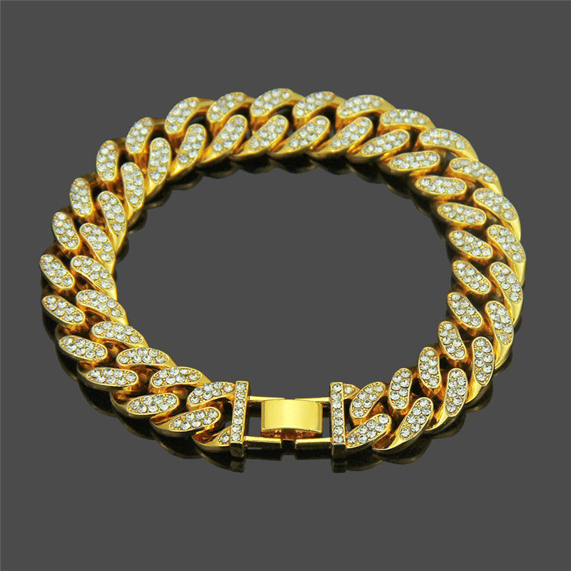 2019 Street fashion hip hop pop full zircon bracelet sparkling personality male accessories Support a generation