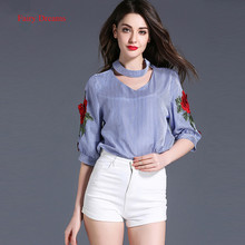 Fairy Dreams Women Shirt Flowers Embroidery Blue Striped Blusas 2017 New Style Loose Summer Blouses Plus Size Fashion Clothing