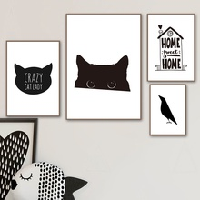 Black White Cat Bird Home Quote Wall Art Canvas Painting Nordic Posters And Prints Pictures For Living Room Kids Decor