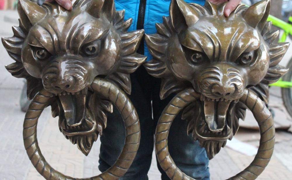 17 Chinese BRASS Guardian Foo Fu Dog Lion Head Knocker Doorknocker Statue Pair
