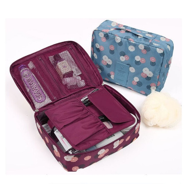 Women Waterproof Travel pouch Hanging Cosmetic bags Solid Purse organizer Beauty bag Makeup box Travel toiletry bag Makeup bags