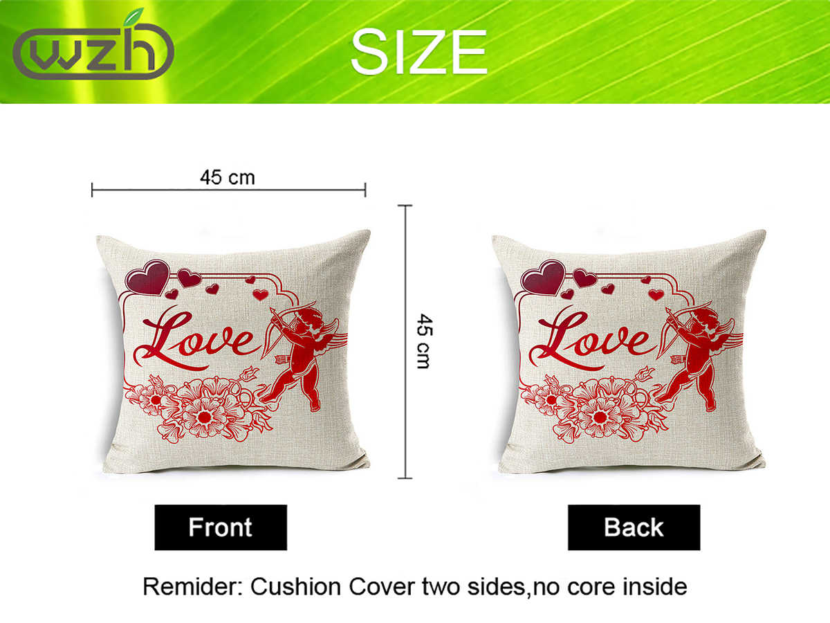 WZH Love and Cupid elements Cushion Cover 45x45cm Linen Decorative Pillow Cover Sofa Bed Pillow Case